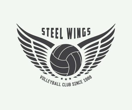 Vintage volleyball label, emblem or logo. Vector illustration Иллюстрация