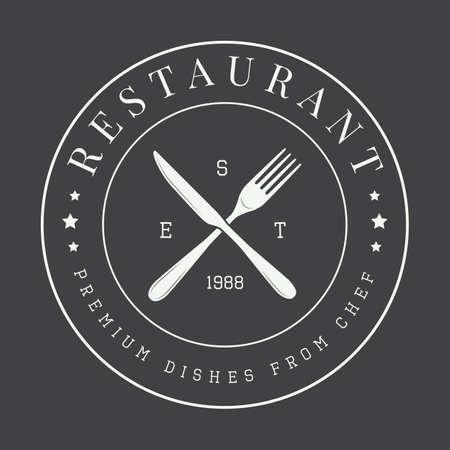 Annata logo ristorante, badge o emblema. Illustrazione vettoriale Archivio Fotografico - 45695341