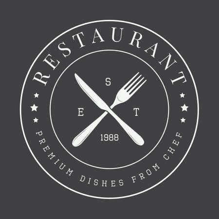 vintage restaurant logo, badge or emblem. Vector illustration Illustration