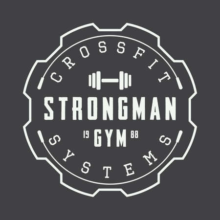 Vintage gym logo, badge or emblem. Vector illustration 向量圖像