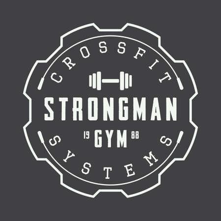 symbol sport: Weinlese-Fitness-Studio-Logo, Abzeichen oder Emblem. Vektor-Illustration