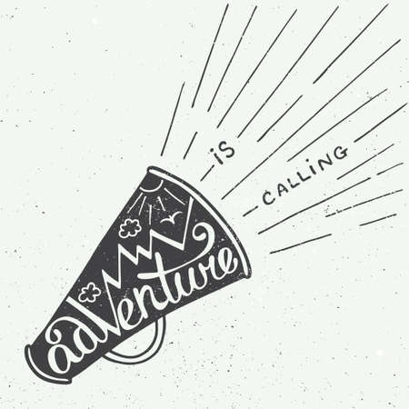 alphabet letters: Vector card with hand drawn unique typography design element for greeting cards and posters. Adventure is calling in mouthpiece with mountains in vintage style Illustration
