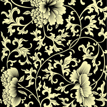 black and white flowers: Pattern on black background with Chinese flowers. Vector illustration