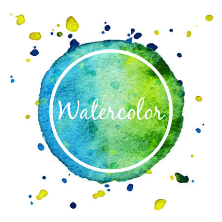 Blue and green watercolor splash circle background