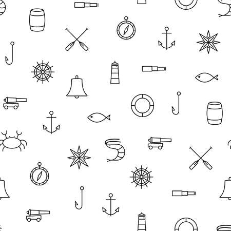 fishhook: White and black ship sea line icons seamless vector pattern