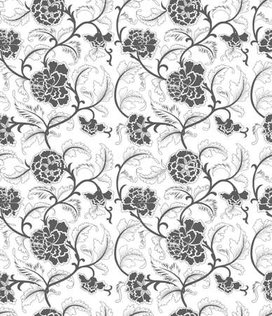 brush painting: Seamless chinese vector floral pattern,