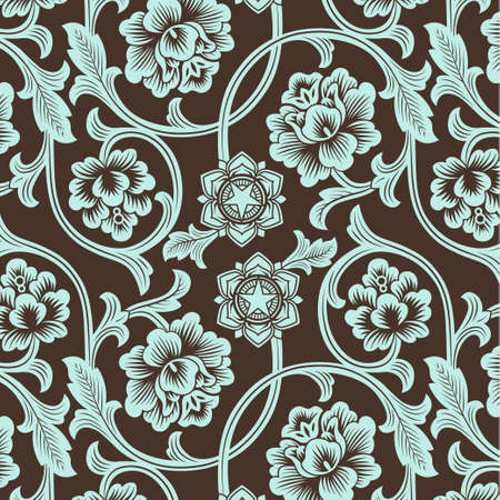 antique asian: Asian ornamental colored antique floral pattern. Vector illustration