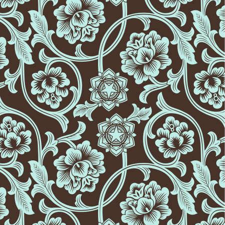 pattern antique: Asian ornamental colored antique floral pattern. Vector illustration