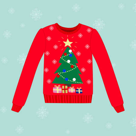 red snowflake background: Christmas sweater on blue vector background with snowflakes Illustration