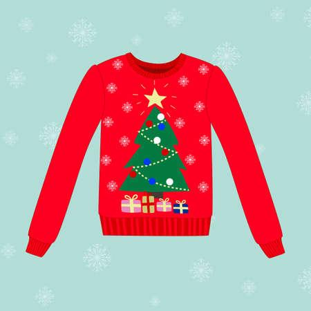 sueter: Suéter de la Navidad en el fondo vector azul con copos de nieve Vectores