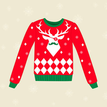 Christmas red ugly vector sweater with deer