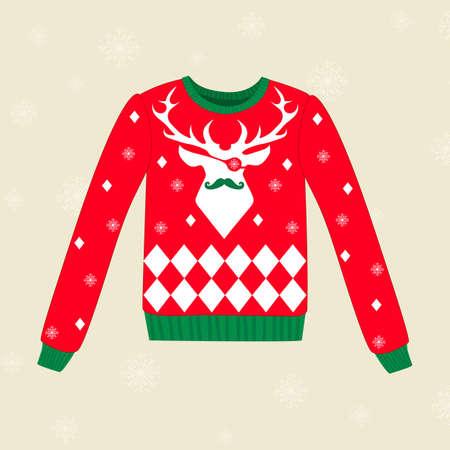 sueter: Navidad suéter rojo vector fea con los ciervos