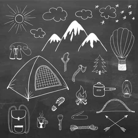 adventures: Adventures hand drawn vector doodle set in vintage style on chalkboard backgroung Illustration