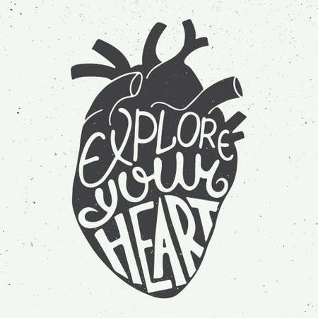 Vector card with hand drawn unique typography design element for greeting cards, prints and posters. Explore your heart in anatomic heart on vintage background