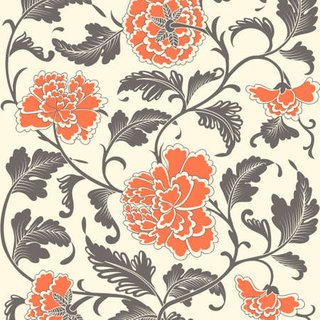 japanese: Ornamental colored antique floral pattern. Vector illustration Illustration