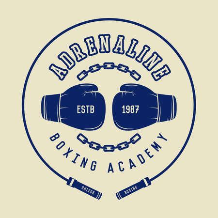 artes marciales: Boxeo y artes marciales logotipo, insignia o etiqueta de estilo vintage. Ilustración vectorial