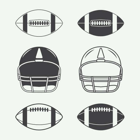 Set of vintage rugby and american football labels, emblems, logo and design elements Illustration