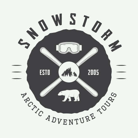 ski: Vintage arctic mountaineering logo, badge, emblem. Vector illustration