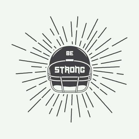 jugador de futbol: El fútbol o el rugby Vintage timón americana con lema motivación. Ilustración vectorial Vectores
