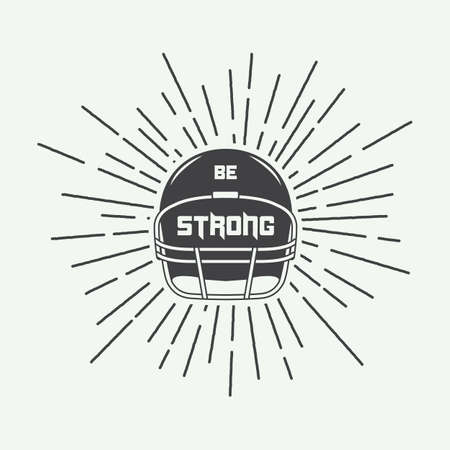 football player: Vintage american football or rugby helm with motivation slogan. Vector illustration
