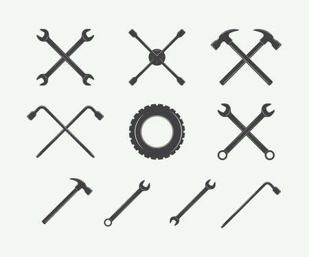 mechanic car: Vintage mechanic label, emblem, logo and design elements. Vector illustration in black