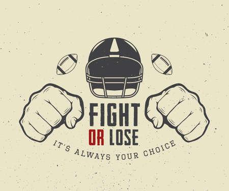 American football en rugby motivatie met helm, vuisten en de bal in vintage stijl. Vector illustratie