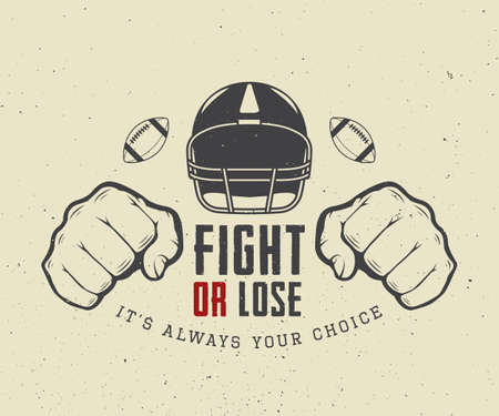 football kick: American football or rugby motivation with helm, fists and ball in vintage style. Vector illustration