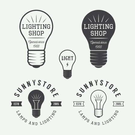 Set of vintage lamps and lighting logo, emblems, badge and design elements. Vector illustration
