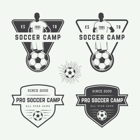 football kick: Set of vintage soccer or football logo, emblem, badge. Vector illustration