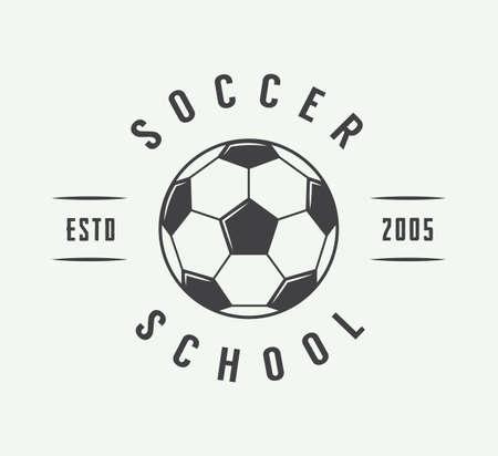 Fútbol de la vendimia o el logotipo de fútbol, ??emblema, insignia. Ilustración vectorial Logos