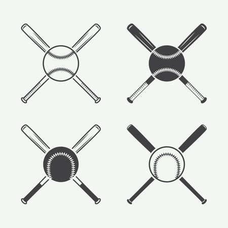 ヴィンテージ野球のロゴ、エンブレム、バッジおよびデザイン要素。ベクトル図