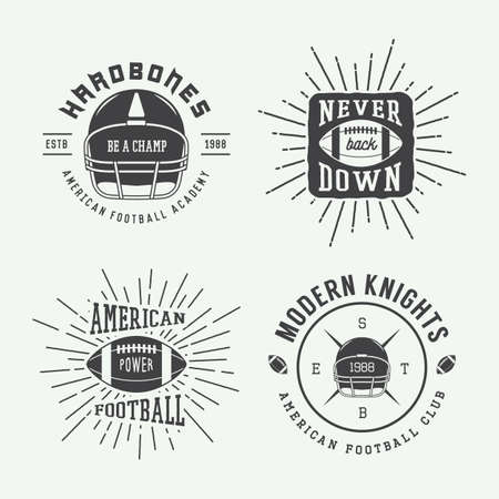 brave of sport: Set of vintage rugby and american football labels, emblems and logo. Vector illustration