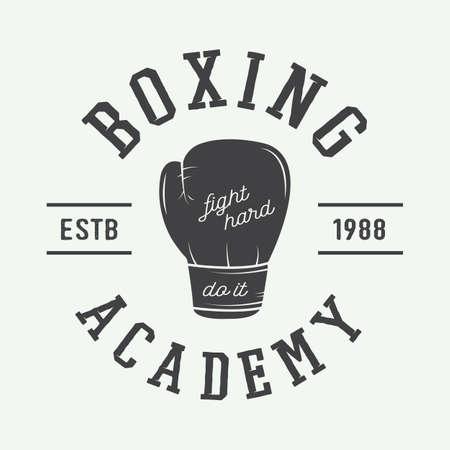 Boxe et arts martiaux logo, badge ou étiquette dans le style vintage. Vector illustration Banque d'images - 46551756