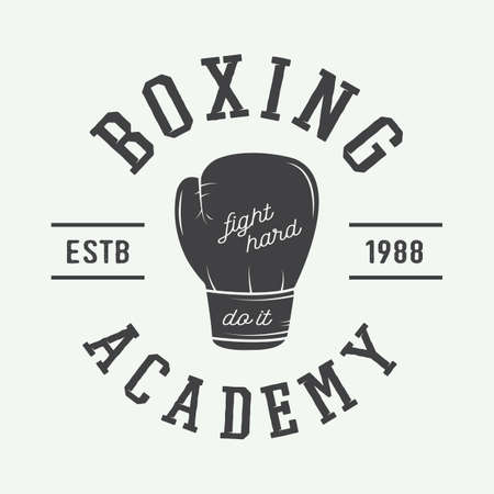 mixed martial arts: Boxing and martial arts logo, badge or label in vintage style. Vector illustration