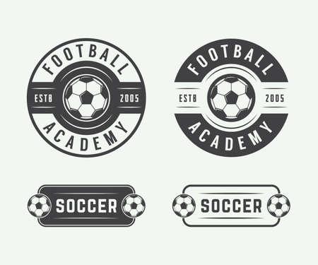 ビンテージ サッカーまたはフットボールのロゴ、エンブレム、バッジのセットです。ベクトル図 写真素材 - 46551771