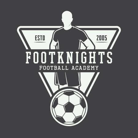 Fútbol de la vendimia o el logotipo de fútbol, ??emblema, insignia. Ilustración vectorial
