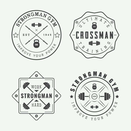 slogans: Set of gym logos, labels and slogans in vintage style