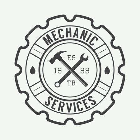 ビンテージ メカニック ラベル、エンブレム、ロゴ。ベクトル図