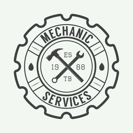 motors: Vintage mechanic label, emblem and logo. Vector illustration