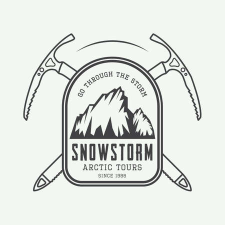 alpinism: Vintage mountaineering and arctic expeditions logos, badges, emblems and design elements. Vector illustration Illustration