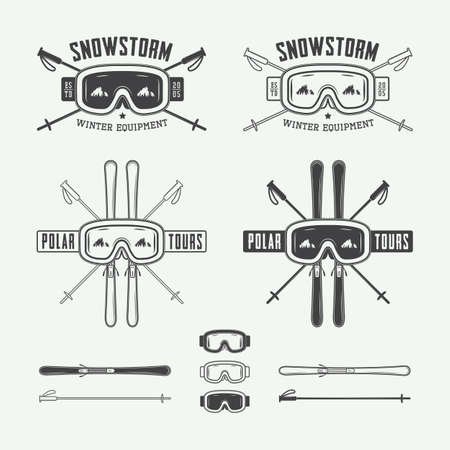 Vintage ski and arctic expeditions logos, badges, emblems and design elements. Vector illustration, eps 10
