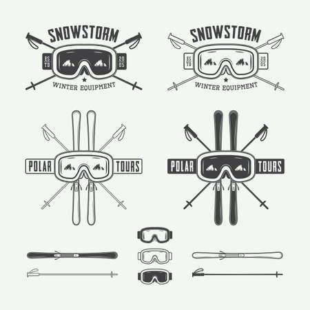 nordic ski: Vintage ski and arctic expeditions logos, badges, emblems and design elements. Vector illustration, eps 10
