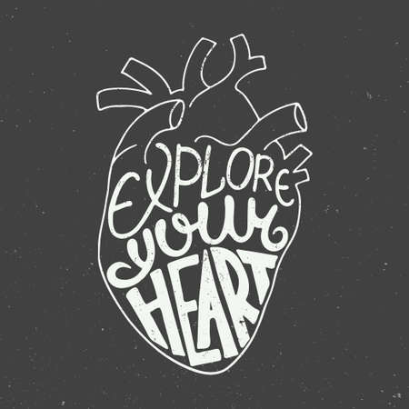 anatomic: card with hand drawn unique typography design element for greeting cards, prints and posters. Explore your heart in anatomic heart on vintage background Illustration