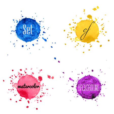 splatter paint: Set of watercolor hand draw splash background isolated on white background.