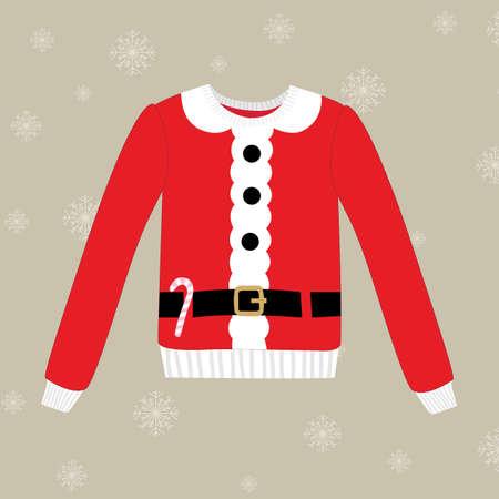 sueter: suéter de la Navidad en el fondo con copos de nieve