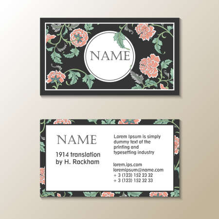 asian business: floral visit card template