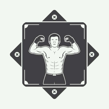 arts: Boxing and martial arts logo, badge or label in vintage style. Vector illustration