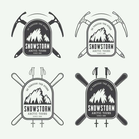 discovery: Vintage mountaineering and arctic expeditions logos, badges, emblems and design elements. Vector illustration Illustration