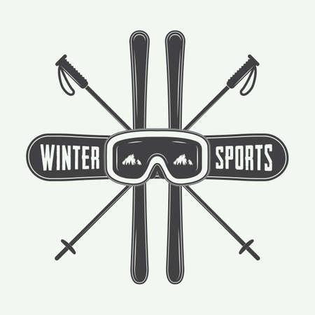 ski: Vintage winter sports logo, badge, emblem and design elements. Vector illustration