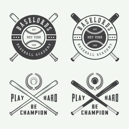 bate: Vintage logotipos del béisbol, emblemas, insignias y elementos de diseño. Ilustración vectorial Vectores